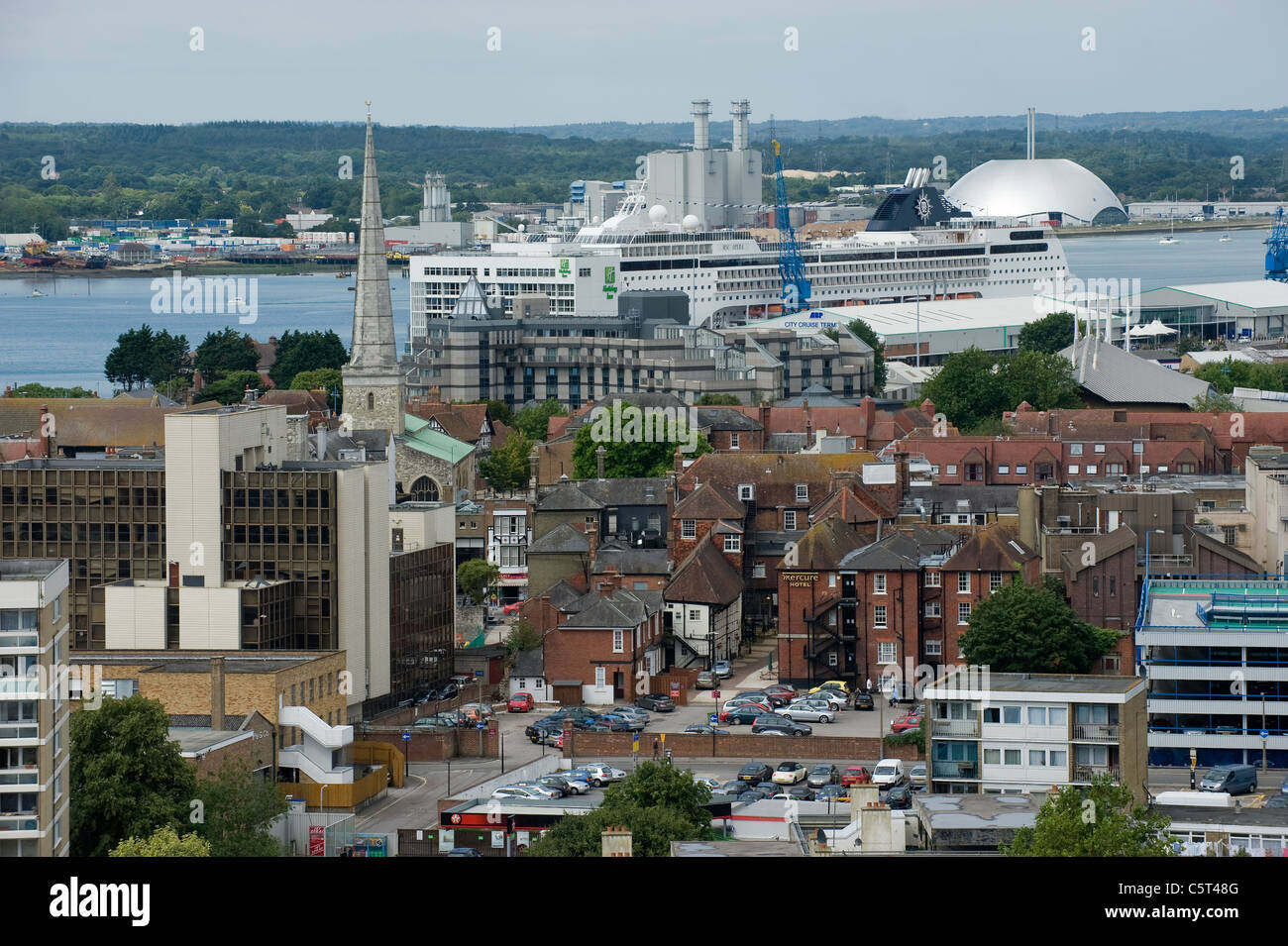 Southampton City centre, England - rooftop view - Stock Image