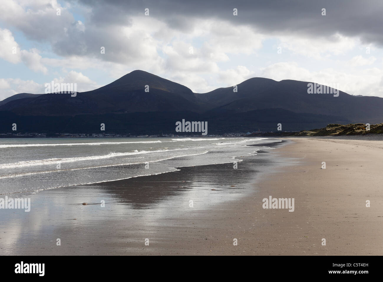UK Northern Ireland County Down Newcastle Mourne Mountains  Murlough National Nature Reserve View of beach with - Stock Image