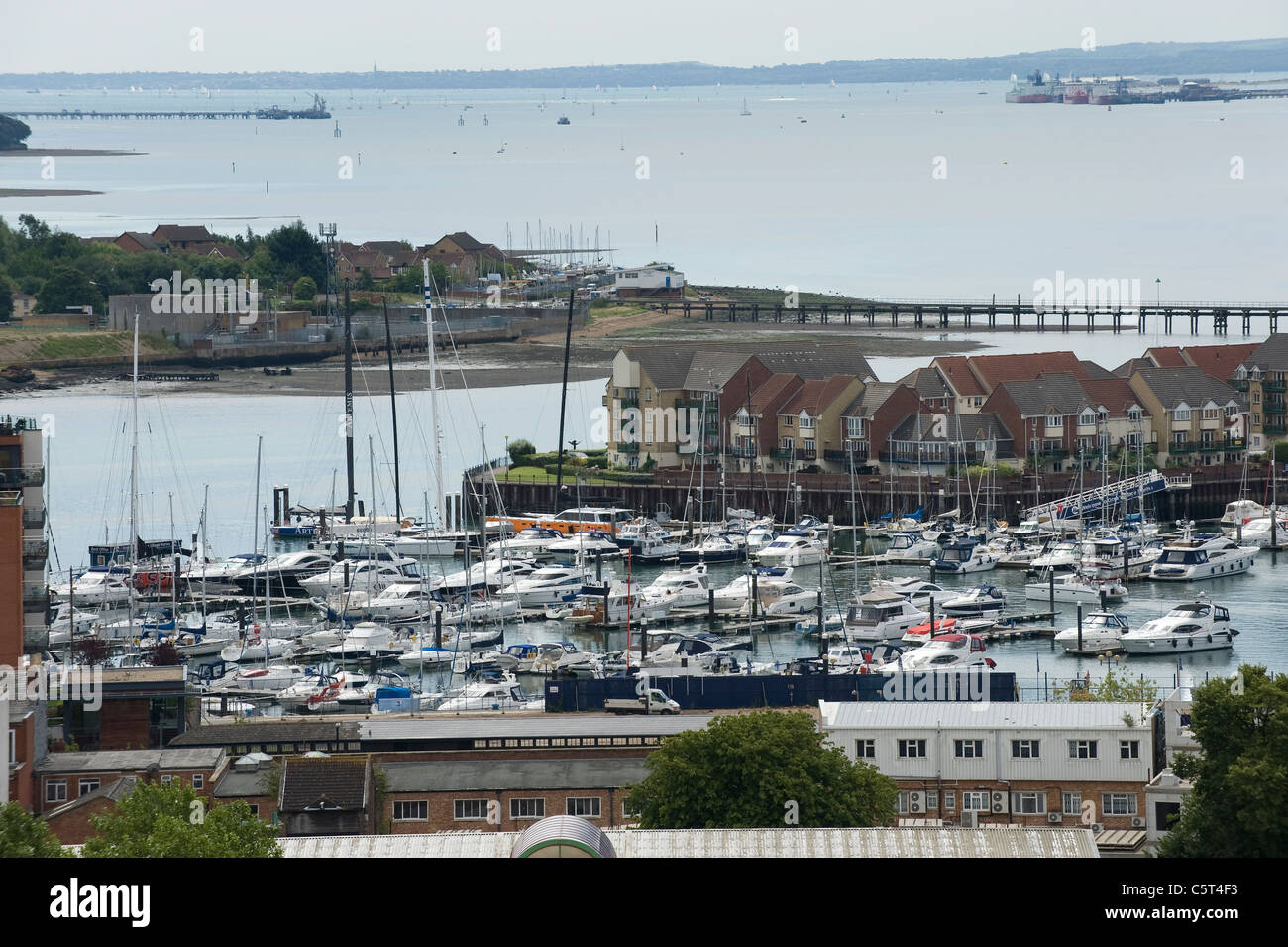 Aerial view of Ocean Village Marina, Southampton, England, showing Southampton Water and the Solent - Stock Image