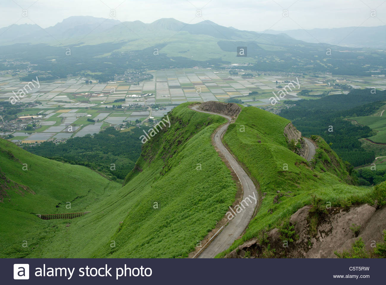 view over green rice fields in the caldera of Aso on Kyushu in Japan with a small winding mountain road - Stock Image