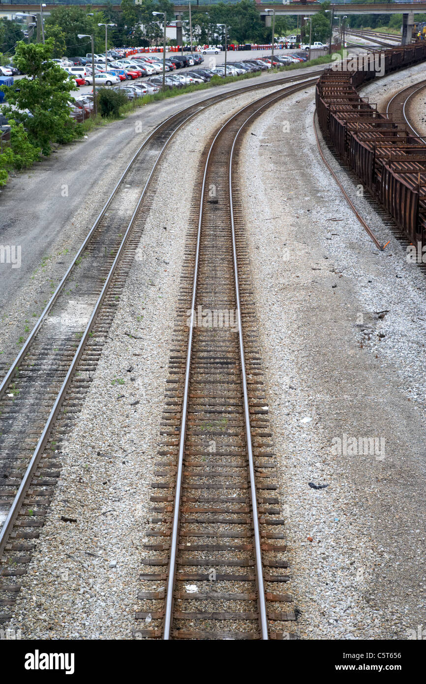 railroad tracks in downtown Nashville Tennessee USA - Stock Image