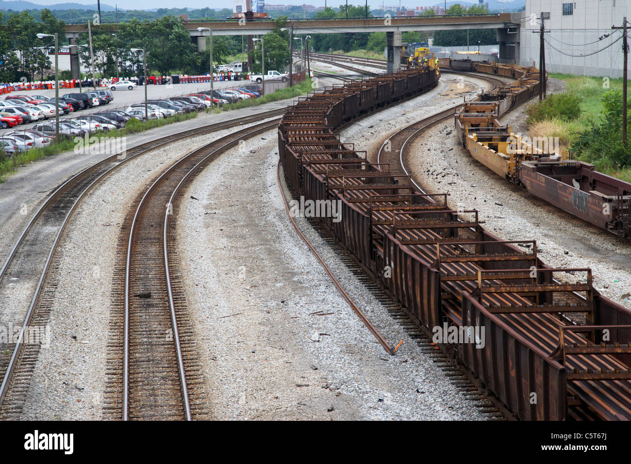 empty freight cars on railroad tracks in downtown Nashville Tennessee USA - Stock Image