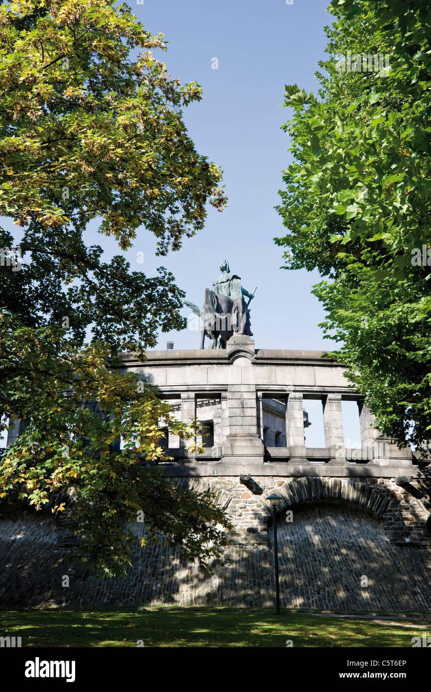 Germany, Rhineland-Palatinate, Koblenz, Deutsches Eck, Monument of Kaiser Wilhelm I - Stock Image