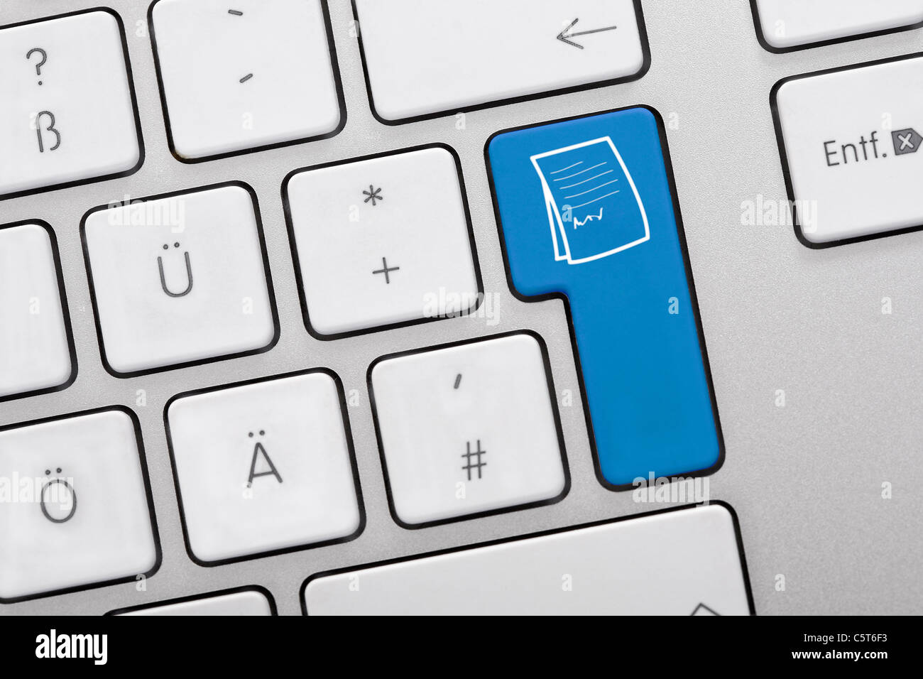 Illustration of keyboard having blue key with documents, close up - Stock Image