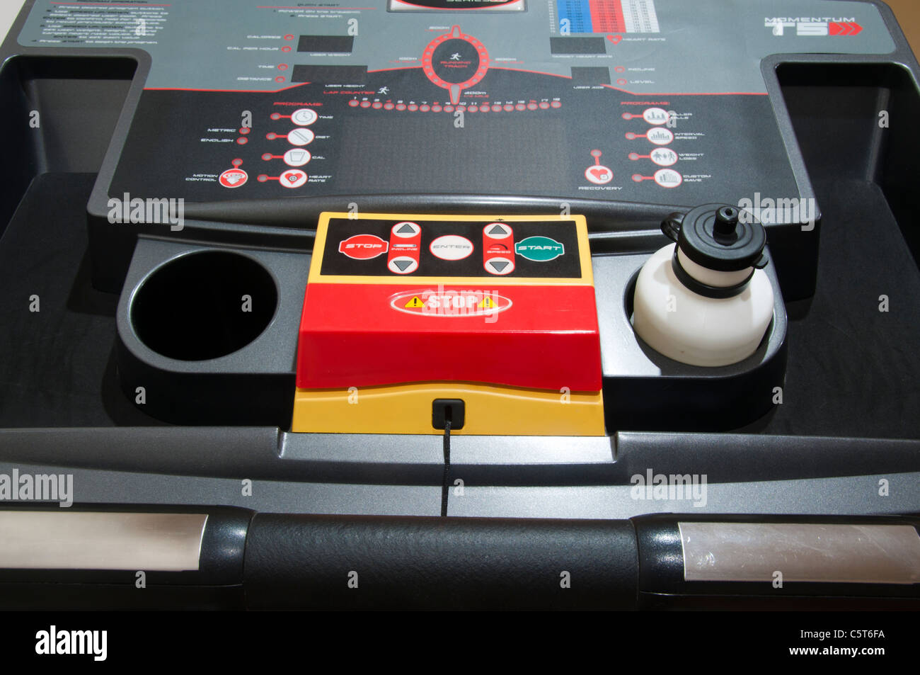 Controls and dials on treadmill - Stock Image