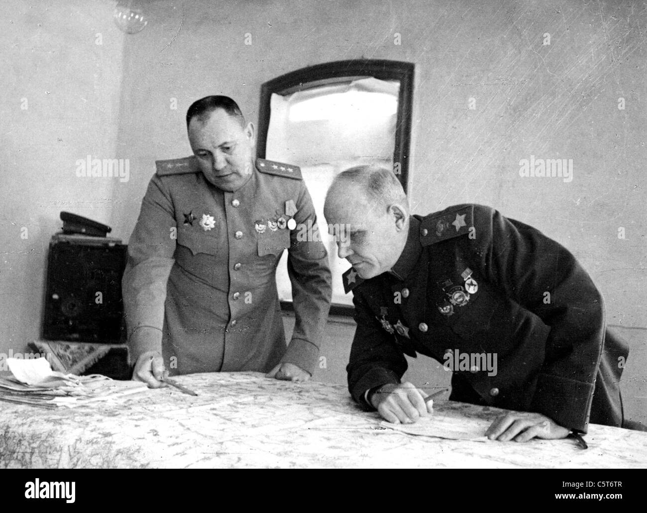 IVAN KONEV (1897-1973) Soviet military commander at right with his Chief of Staff General  Aleksei Zakharov - Stock Image