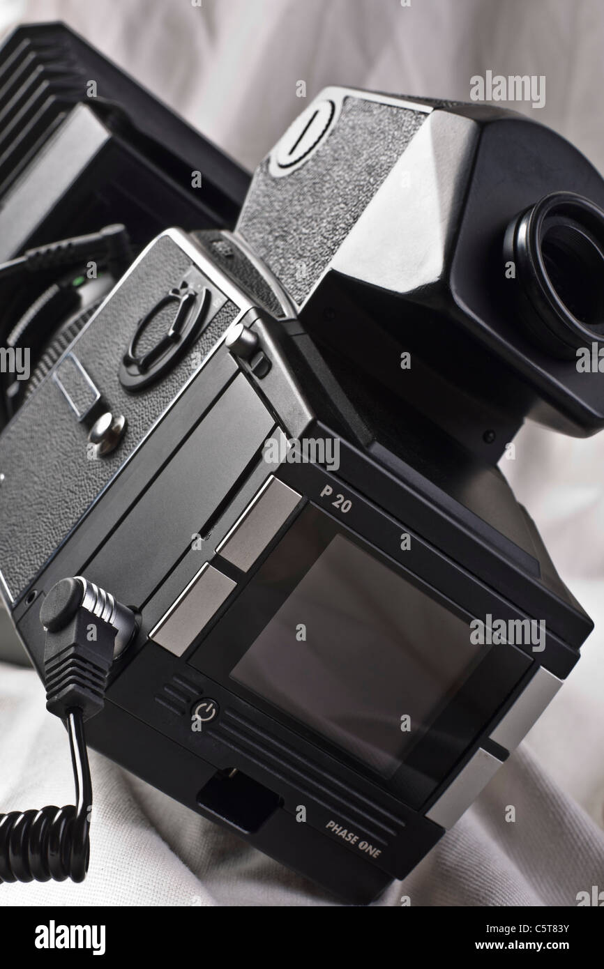 Phase One digital back on a classic Hasselblad camera - pro system circa 2005 - Stock Image