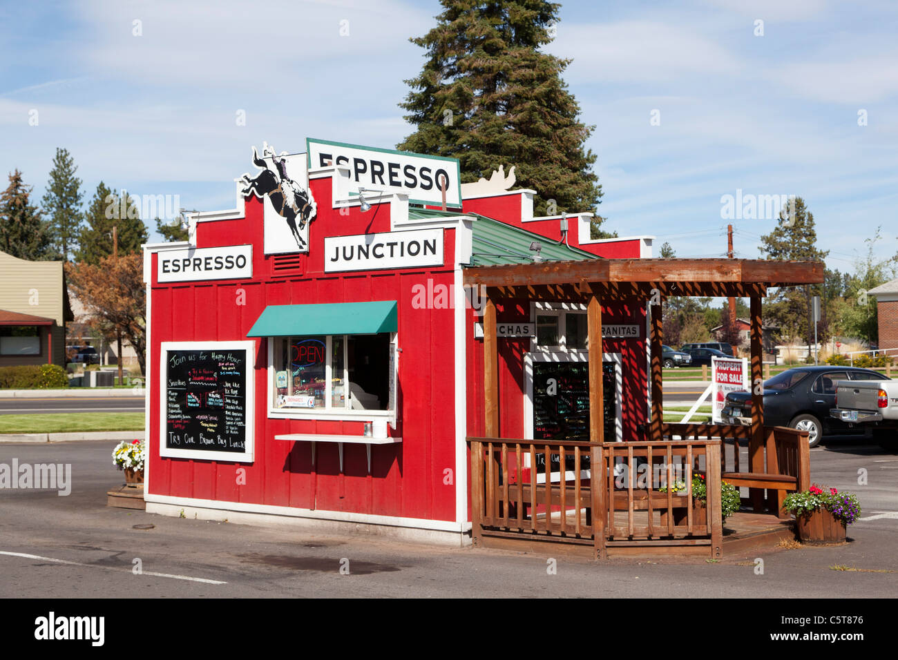 Esspresso Junction coffee drive through Sisters Oregon USA - Stock Image