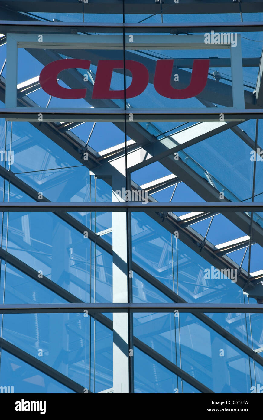 Germany, Berlin, CDU, Party headquarters building, glass front - Stock Image
