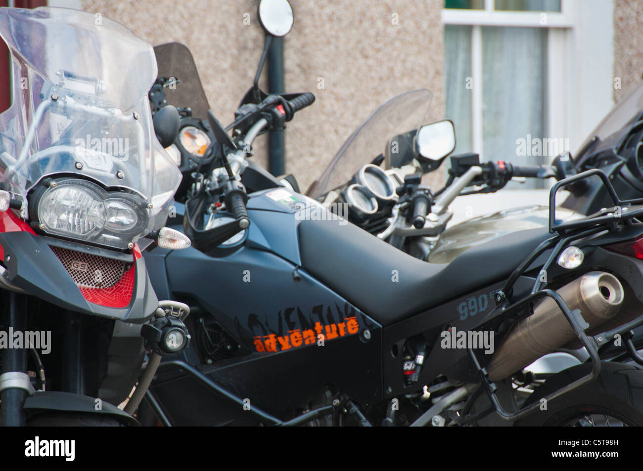 Adventure motorcycles, BMW GS, KTM 990 - Stock Image