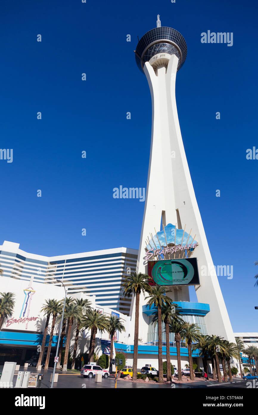 Stratosphere Tower in Las Vegas Nevada  USA - Stock Image