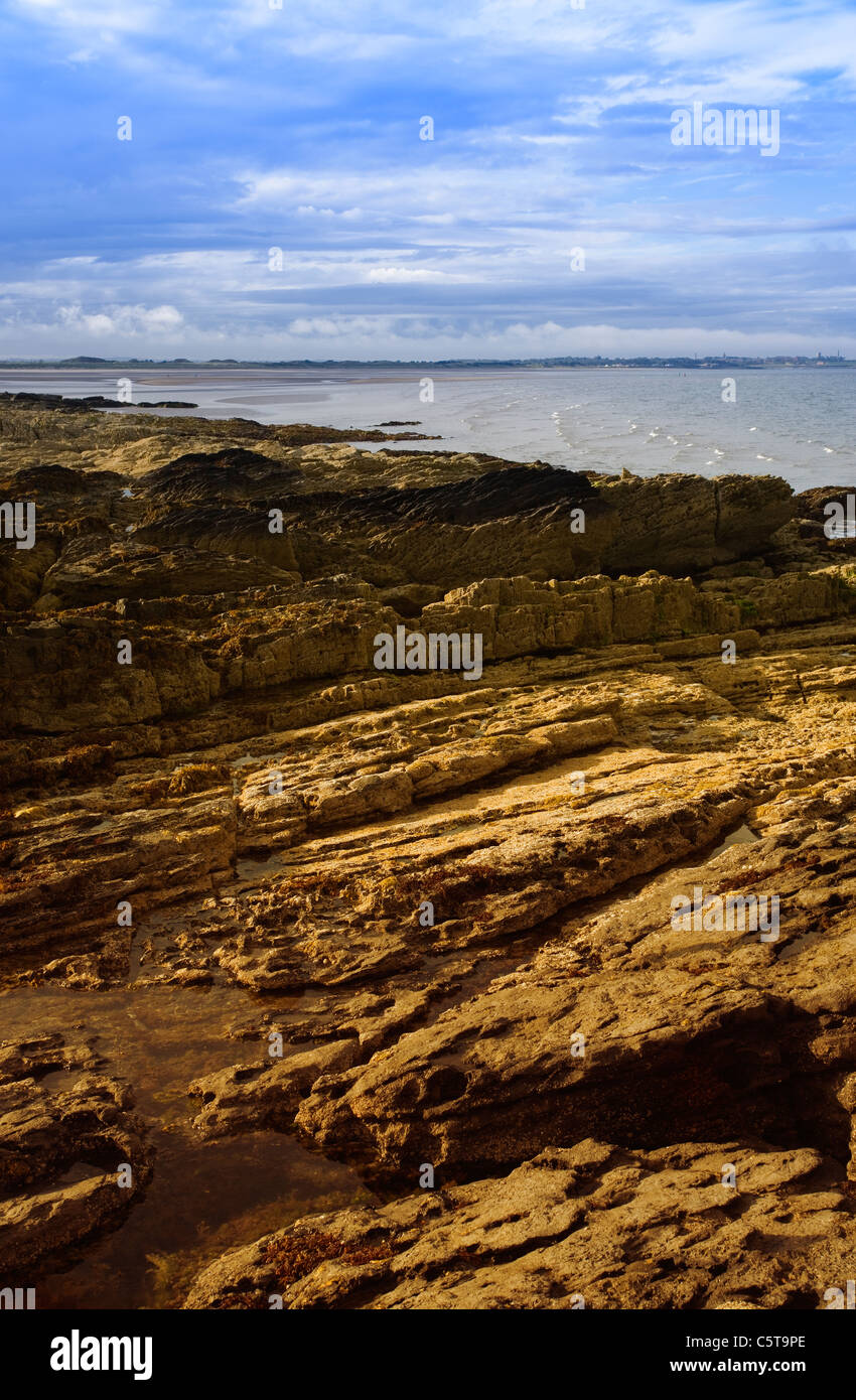 View of Malahide beach from Portmarnock - Stock Image