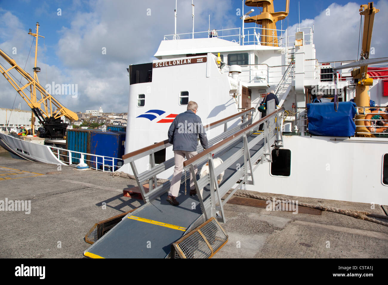 Scillonian III at St Mary;s harbour; Isles of Scilly - Stock Image
