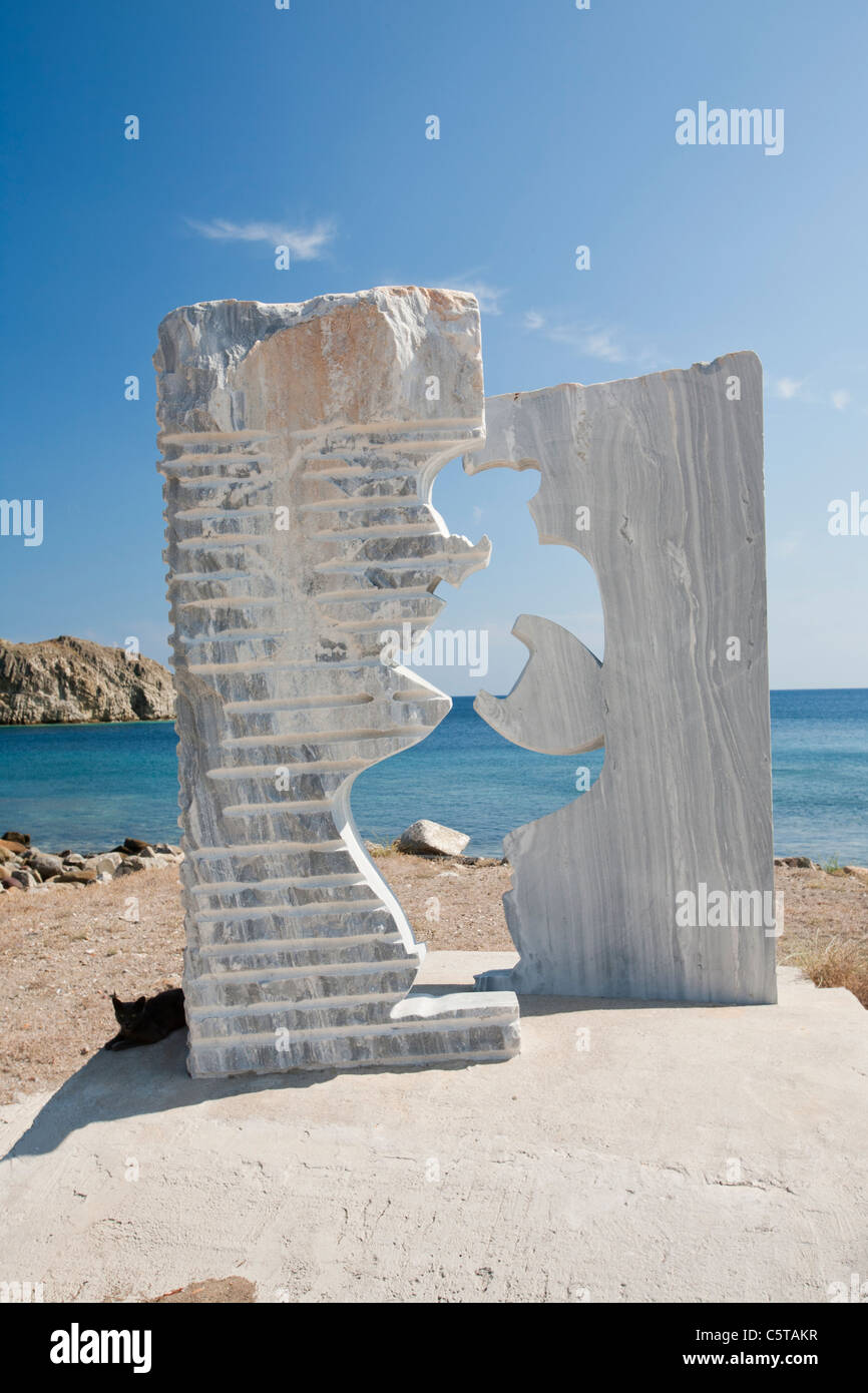 A sculpture of Sapho, the Greek poet on the sea front at Skala Eresou on Lesbos, Greece. - Stock Image