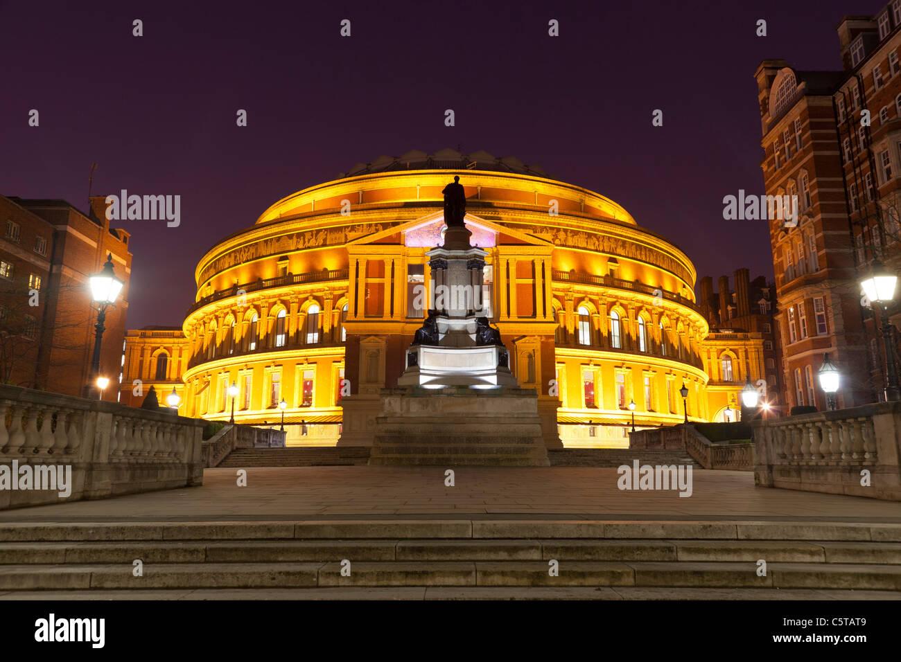 Royal Albert Hall at dusk with lights London UK - Stock Image