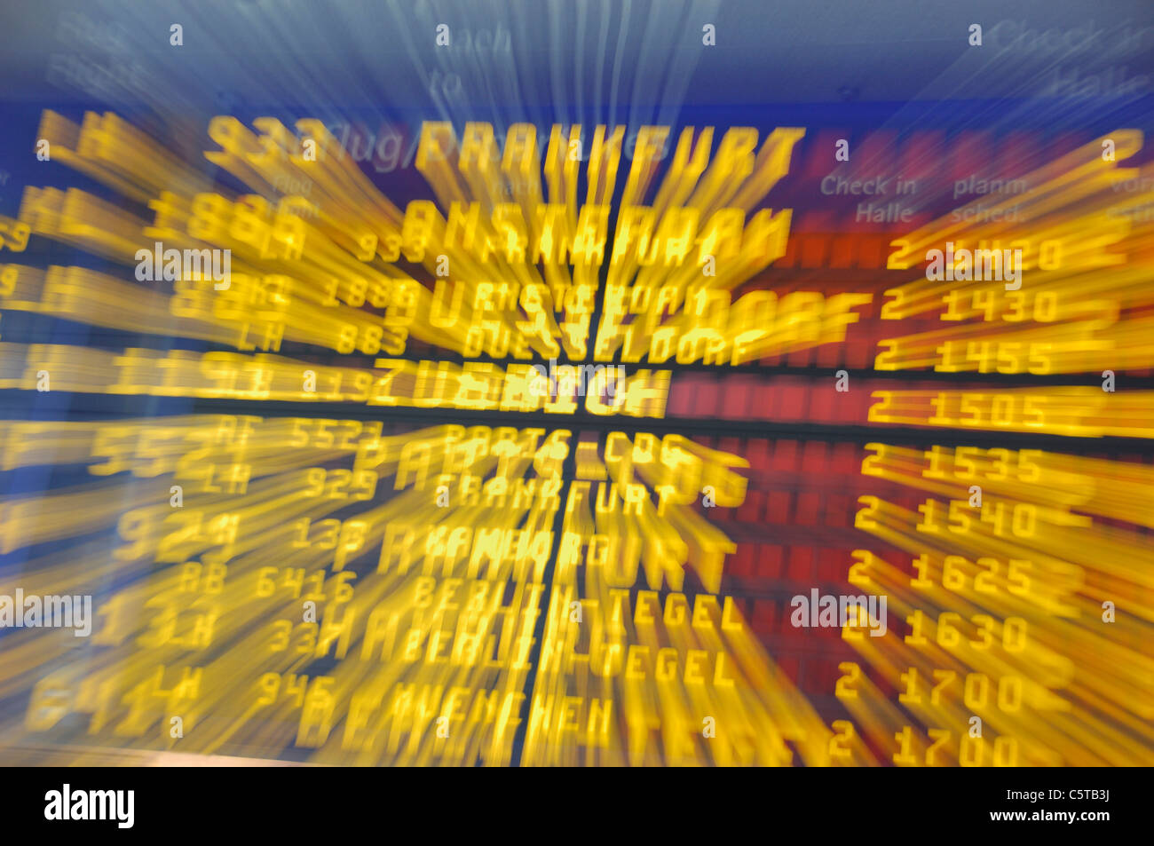 Germany, Airport, Annunciator panel, blurred, Zoom - Stock Image