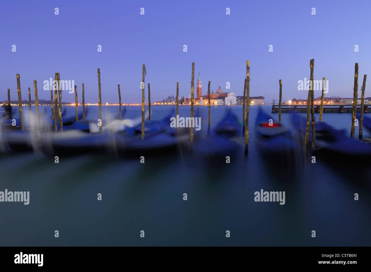 Italy, Venice, San Giorgio Maggiore, Gondolas - Stock Image