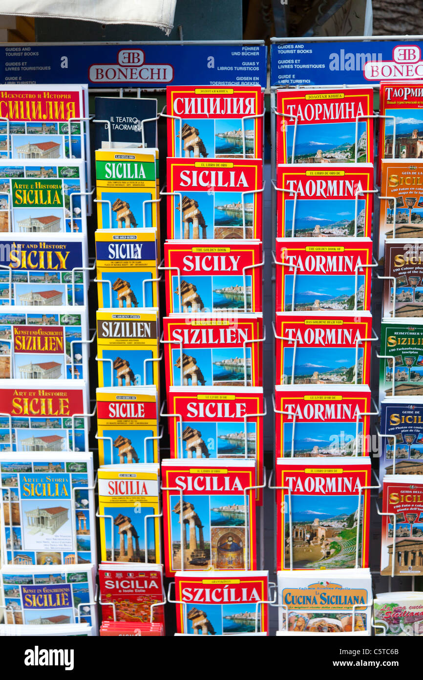 Guide books on sale in Taormina Sicily Italy - Stock Image