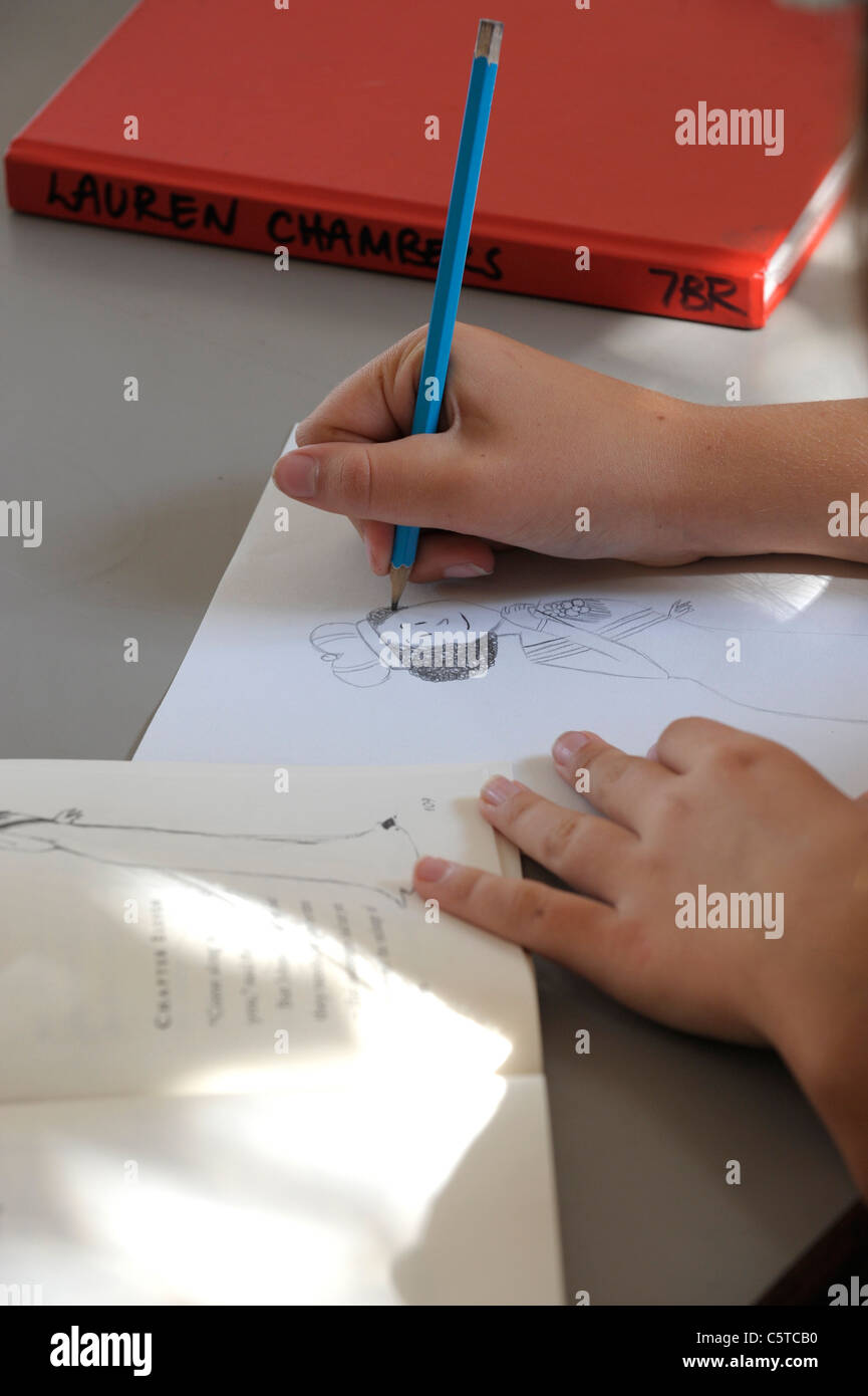 Student hand drawing cartoon Queen Stock Photo