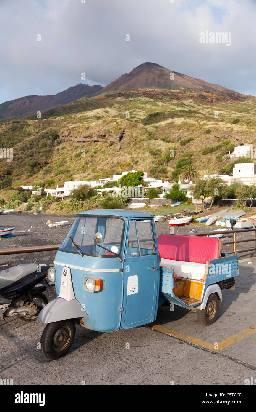 Piaggio Ape mini van Stromboli Italy Stock Photo