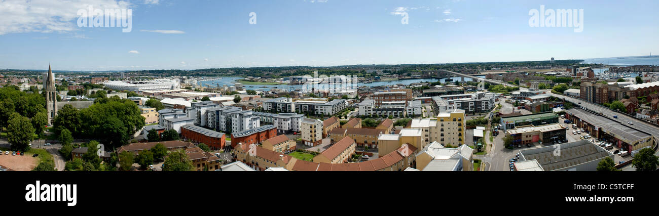 Rooftop panoramic view of Southampton city centre and skyline looking East - Stock Image