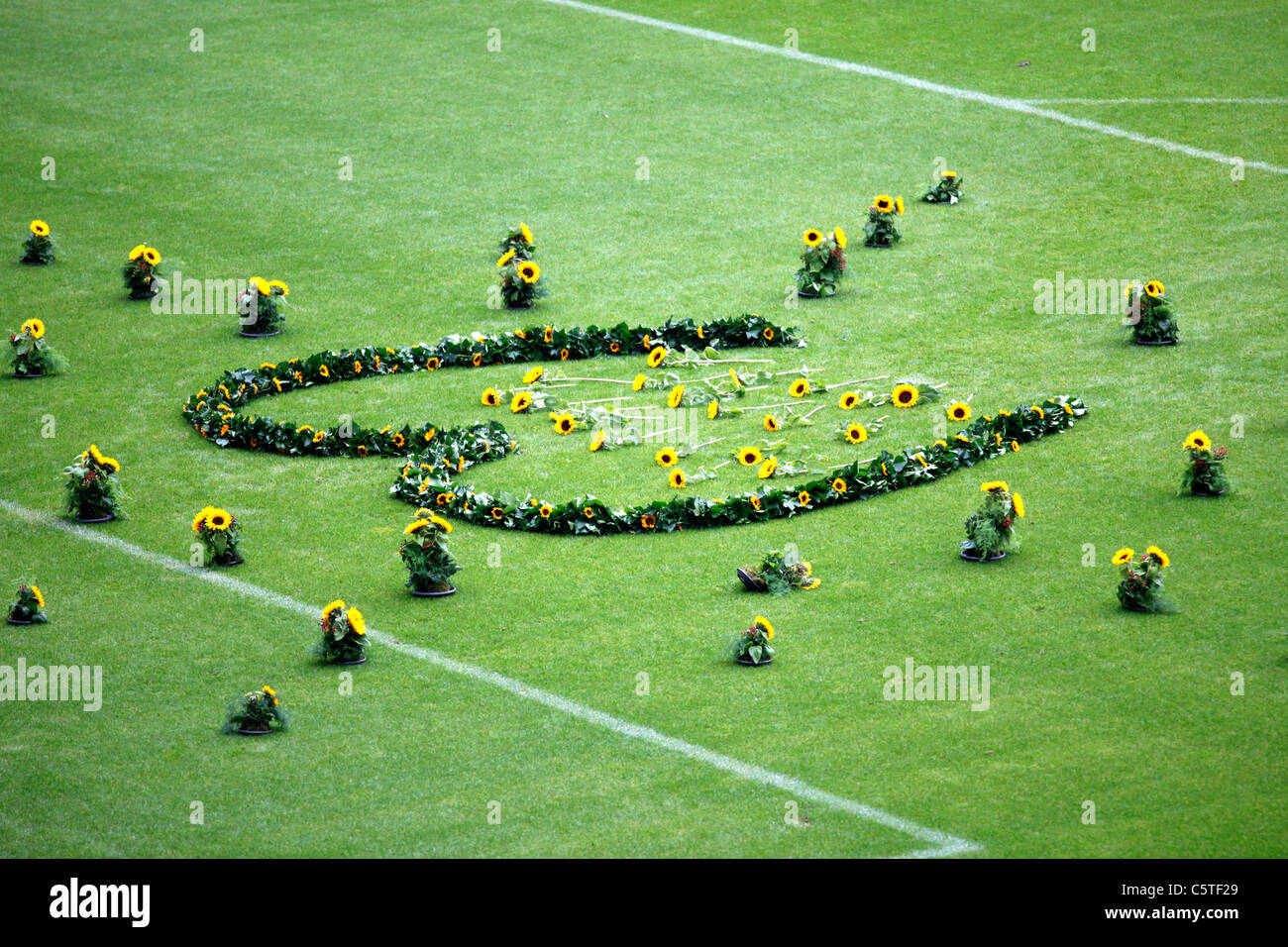 Memorial event, 1 year after the mass panic, during Loveparade techno music festival, in Duisburg. 21 people were - Stock Image