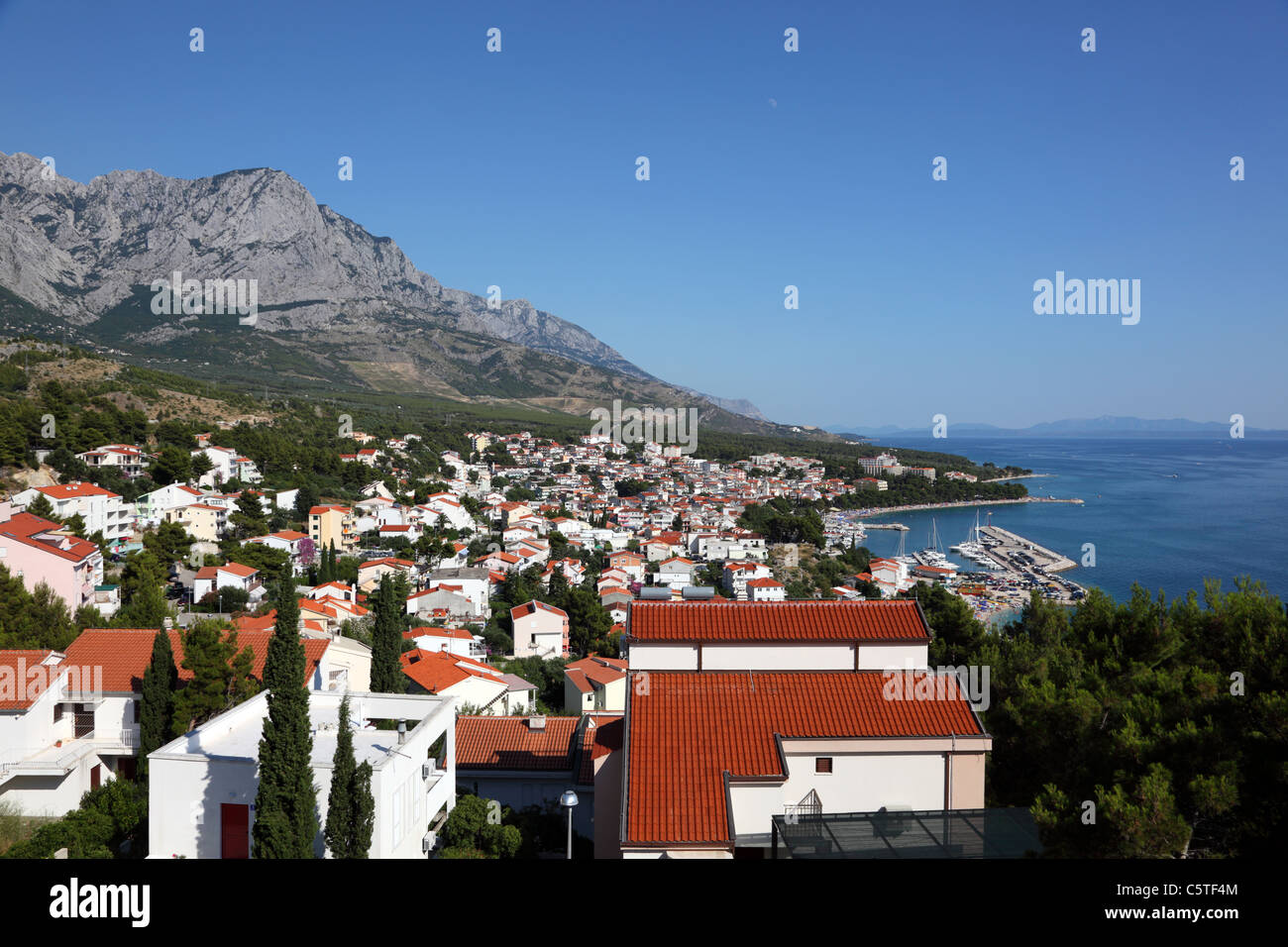 View of Croatian resort Baska Voda - Stock Image