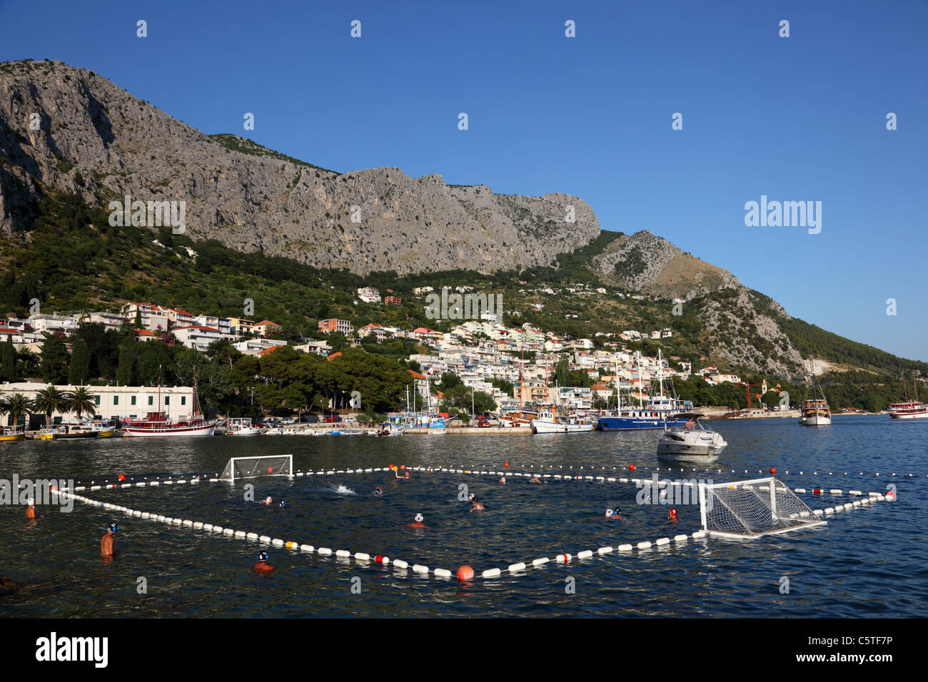 Water polo match in Croatian town Omis - Stock Image