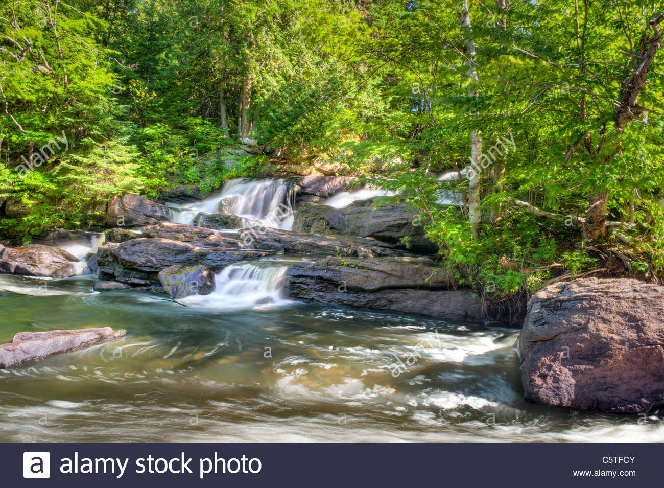 HDR photo of Nieman Falls left side in the Summer near Maynooth Ontario Canada - Stock Image