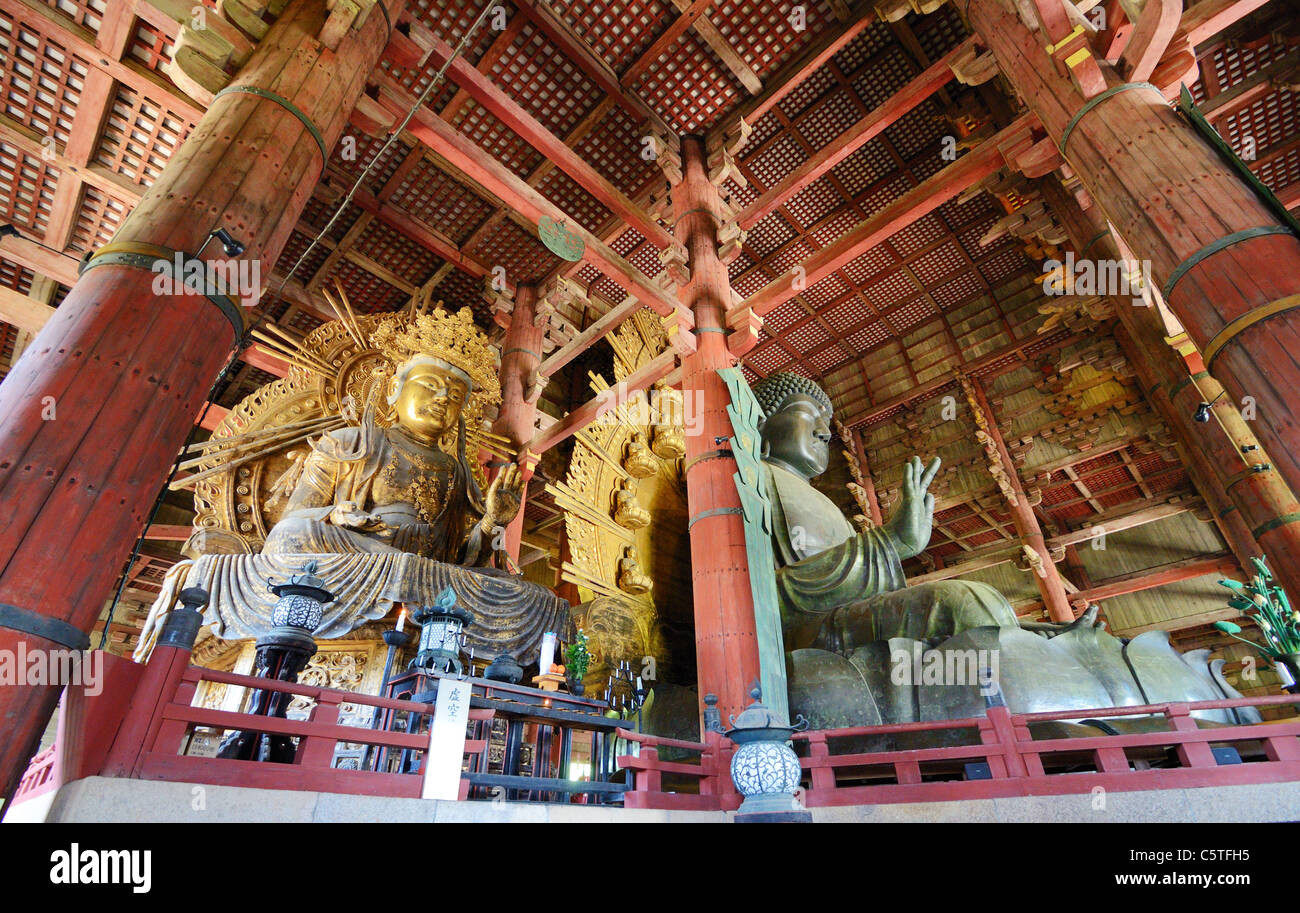 The great buddha statue in Todaiji, a World Heritage Site in Nara, Japan. - Stock Image