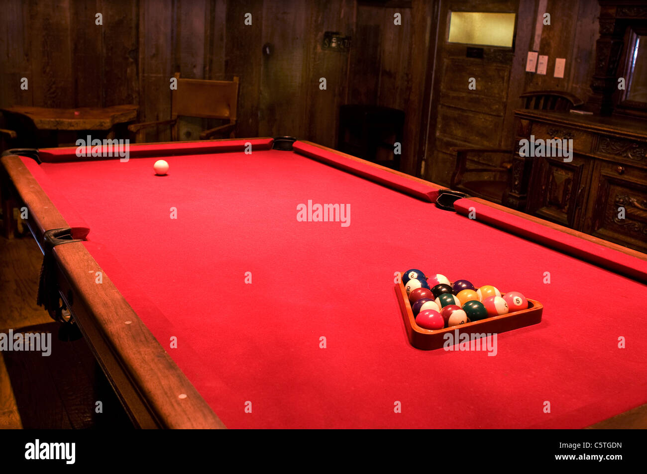 Red pool table - Stock Image