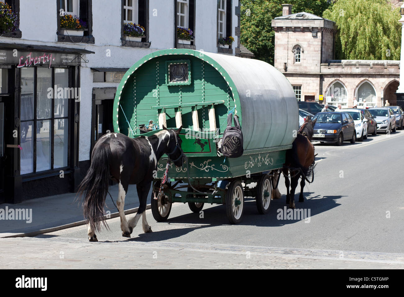 Horse drawn Gypsy Caravan in Boroughgate at the Annual Horse Fair in Appleby in Westmoreland. - Stock Image