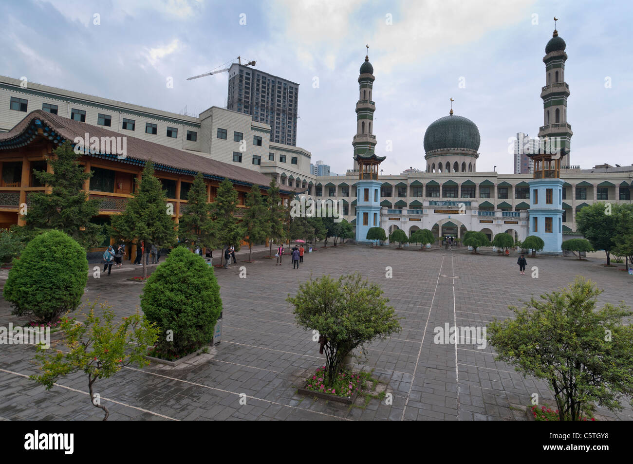 The Great Mosque after Friday prayers, Xining, Qinghai Province, China - Stock Image