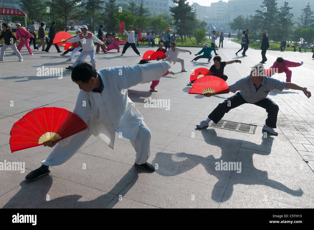 Seniors perform early morning Tai Chi, in city park, Xining, Qinghai Province, China - Stock Image