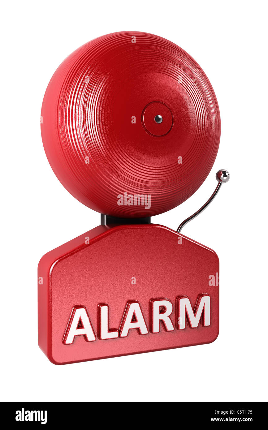 Red fire alarm bell over white background - Stock Image