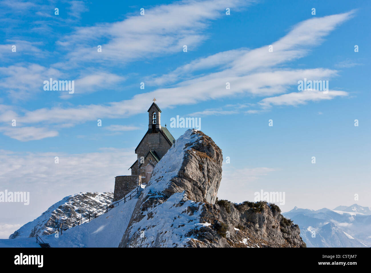 South Germany, Upper Bavaria, View of small church on Wendelstein mountain - Stock Image