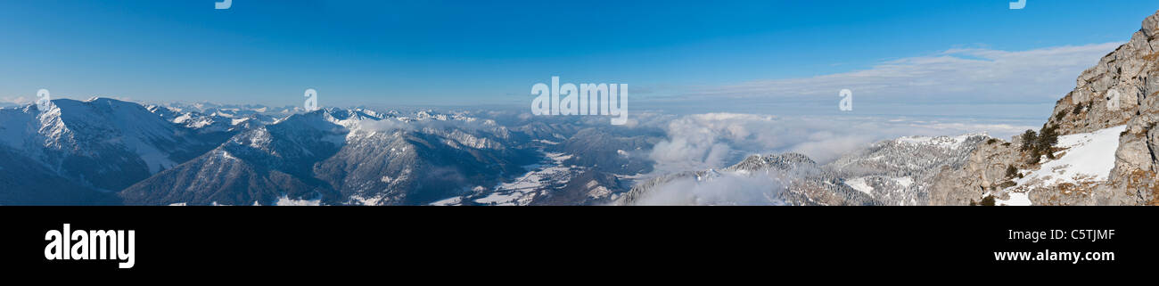 South Germany, Upper Bavaria, Bayrischzell, View of european alps from Wendelstein mountain - Stock Image