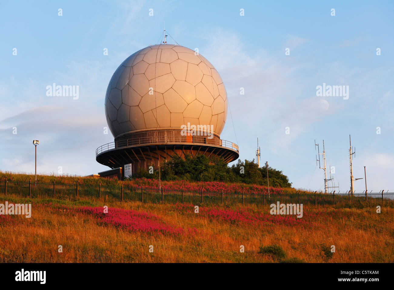 Germany, Hesse, Rhoen, View of radar dome at dusk - Stock Image