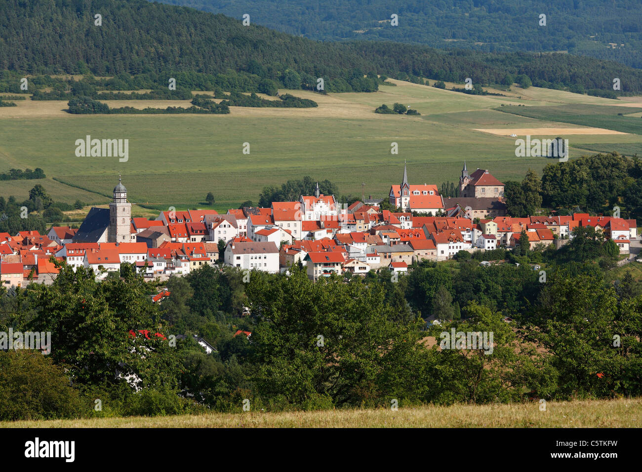 Germany, Thuringia, Rhoen, View of geisa town - Stock Image