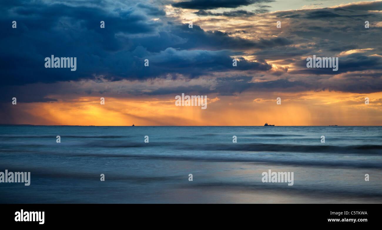 Seascape at sunset, Saltburn - Stock Image
