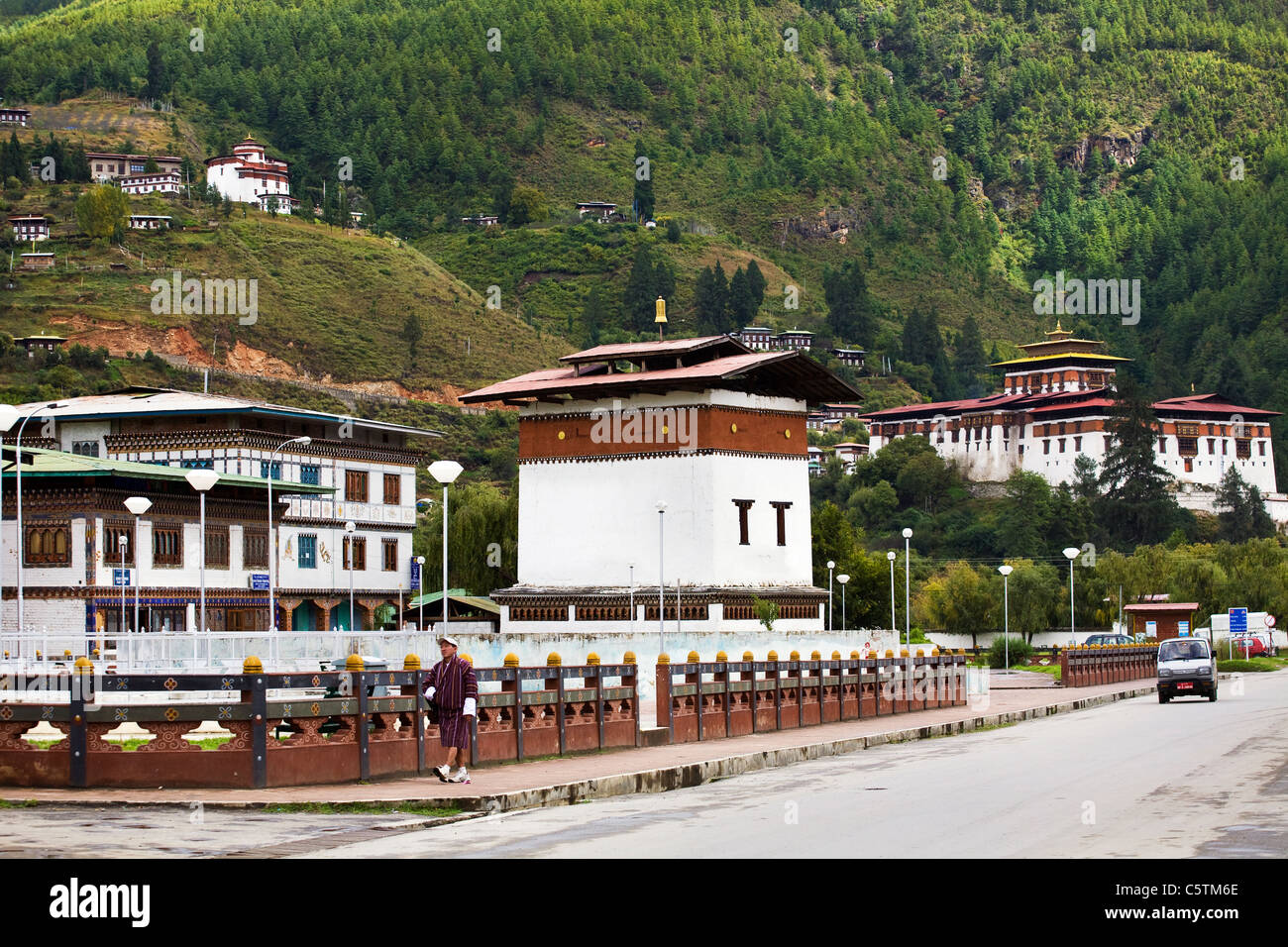 Road leading to Paro market. Paro Dzong and National museum can be seen in the background. - Stock Image