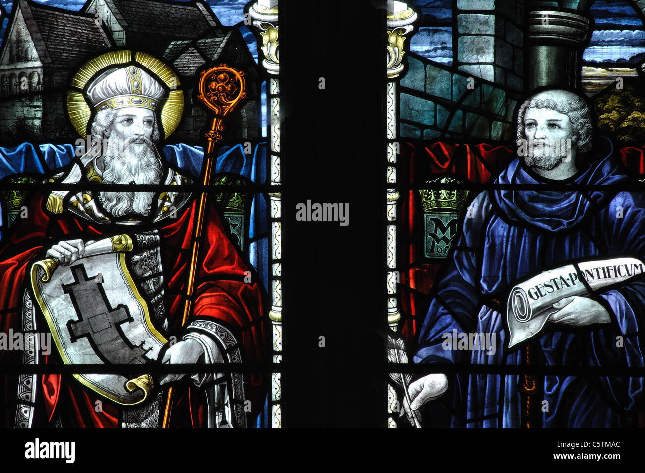 Stained glass of St. Aldhelm and William of Malmesbury, Malmesbury Abbey, Wiltshire, England, UK Stock Photo