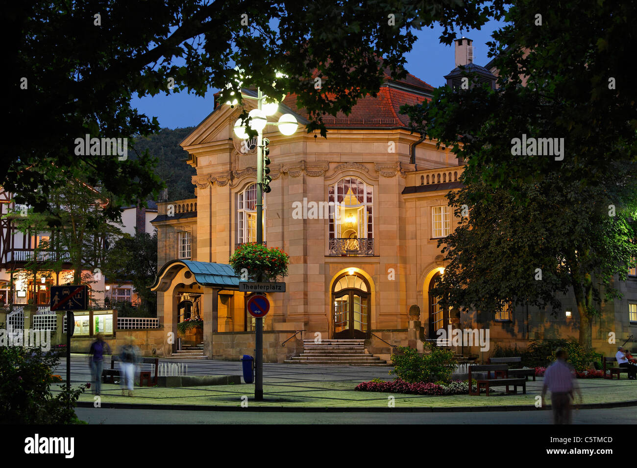 Germany, Bavaria, Lower Franconia, Rhoen, Bad kissingen, View of art nouveau theatre - Stock Image