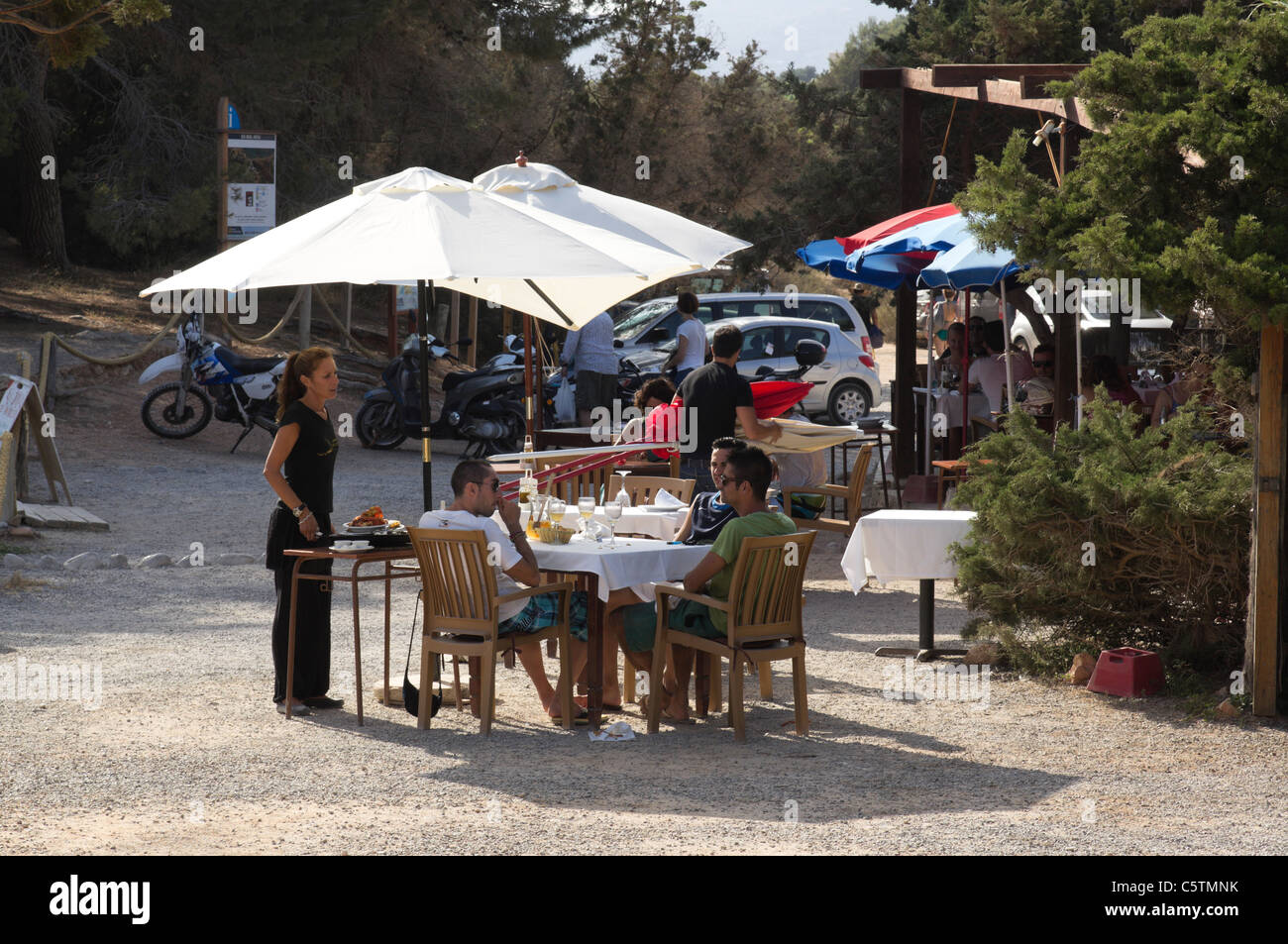 Ibiza, Balearics, Spain - Es Bol Nou beach, Sa Caleta restaurant - Stock Image