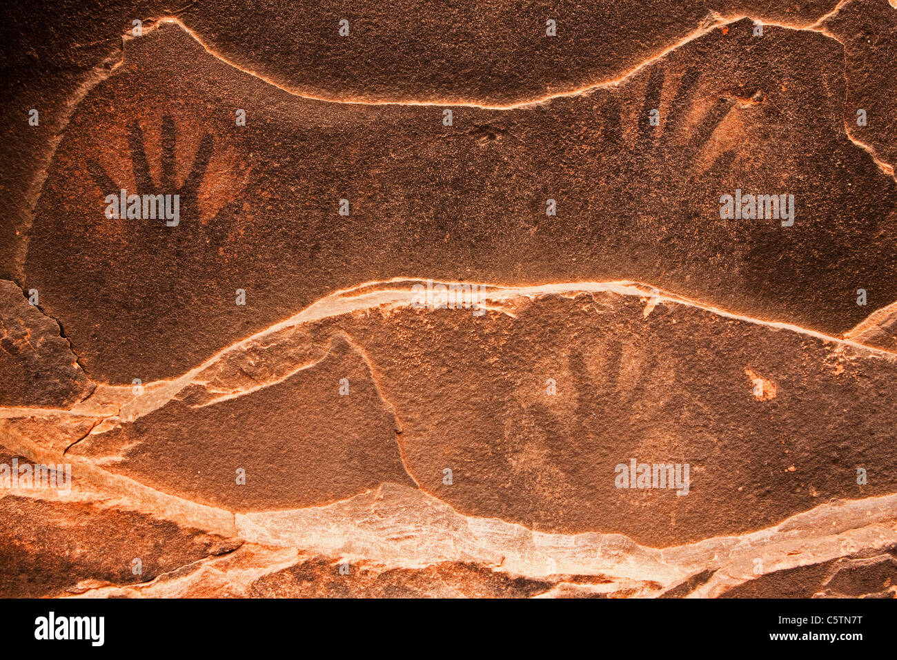 USA, Utah, Fallen Roof Ruin, Hand prints on ceiling - Stock Image