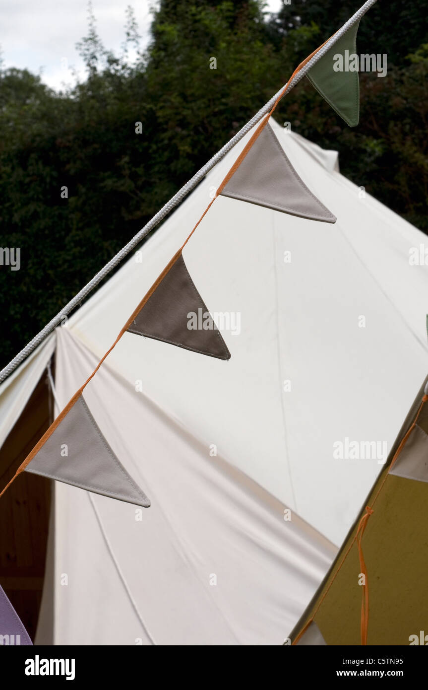 Bunting on tents,Bell-tent with Dark Stock Photo: 38037585