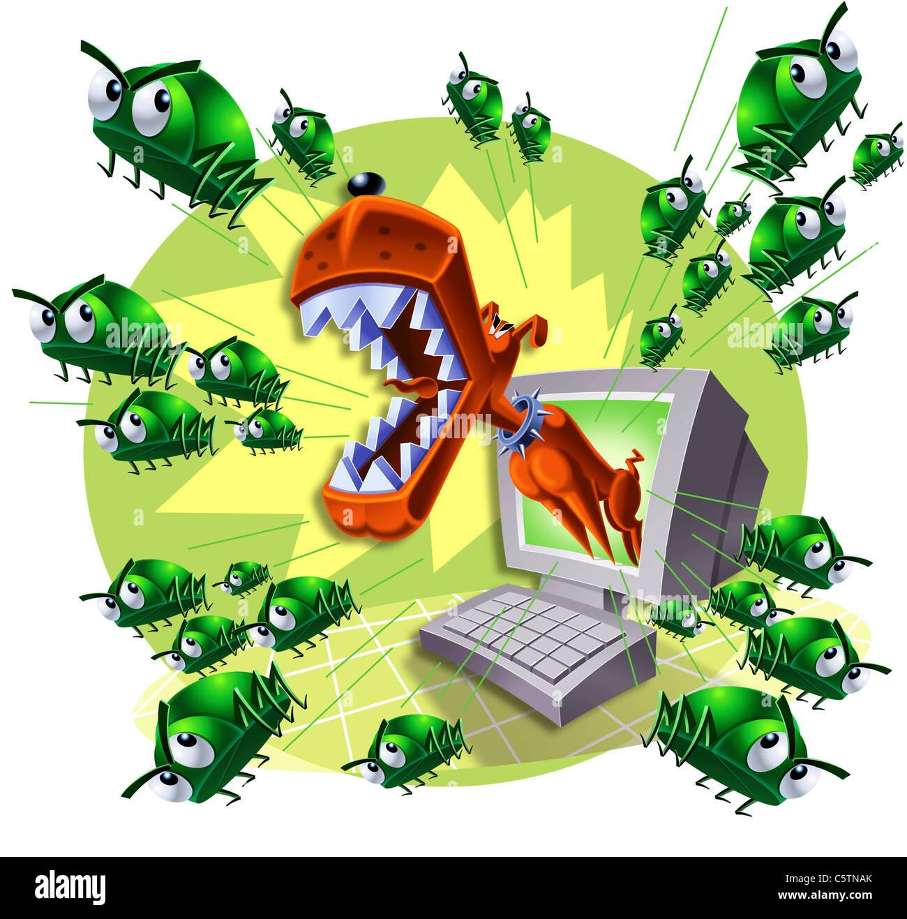 Illustration, Bug dog scaring viruses - Stock Image