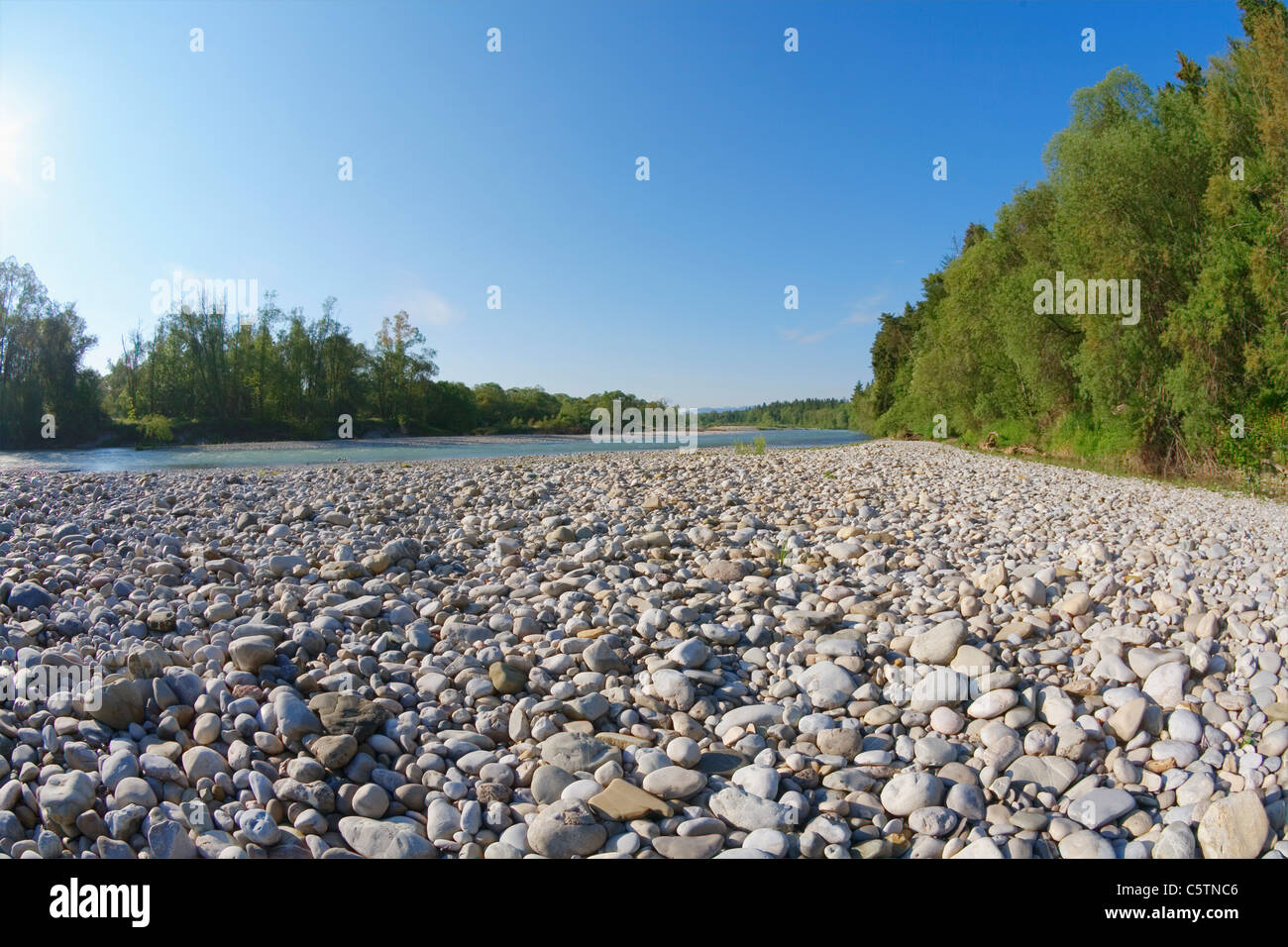 Germany, Upper Bavaria, View of isar river in geretsried Stock Photo