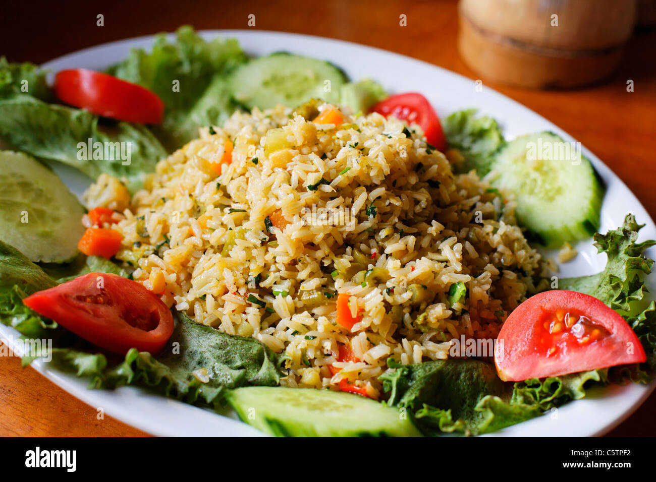 Costa Rica, Typical rice meal on plate - Stock Image