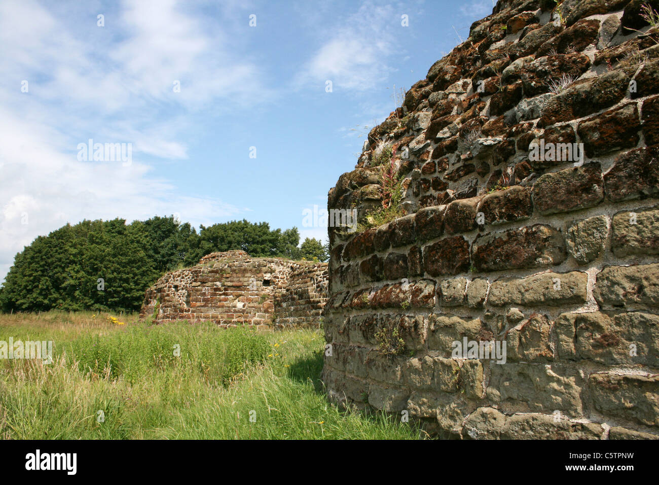 Buttress Walls Of Old Bolingbroke Castle, Lincolnshire, UK Stock Photo